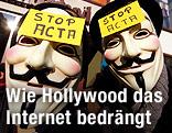 """Zwei Personen mit Guy-Fawkes-Masken haben einen Zettel mit der Aufschrift """"Stop Acta"""" auf der Stirn"""