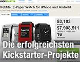 Pebble E-Paper-Uhren auf einem Screenshot von kickstarter.com