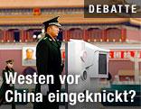Militärpolizist auf dem Tianamenplatz in Peking