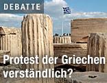 Griechische Flage auf der Akropolis