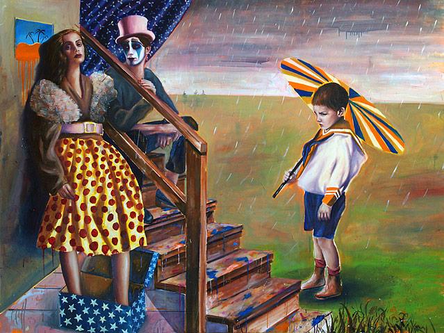 Bub mit Regenschirm steht neben einer Frau und einem Clown: Bernhard Buhmann, Umbrella, 2008