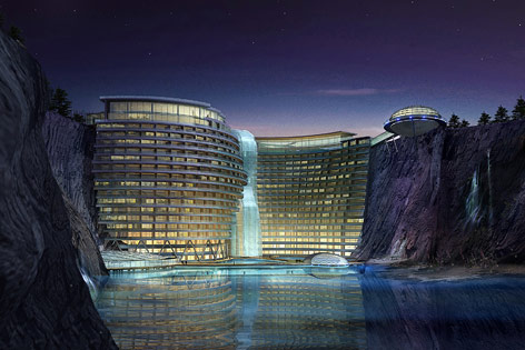 Zeichnung zu geplantem Songjiang Hotel in China