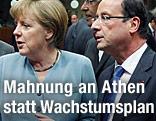 Die deutsche Bundeskanzlerin Angela Merkel steht neben Frankreichs Präsident Francois Hollande