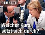 Frankreichs Präsident Francois Hollande und die deutsche Kanzlerin Angela Merkel