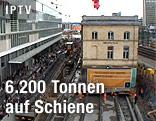 Oerlikon-Gebäude in Zürich auf Schienen