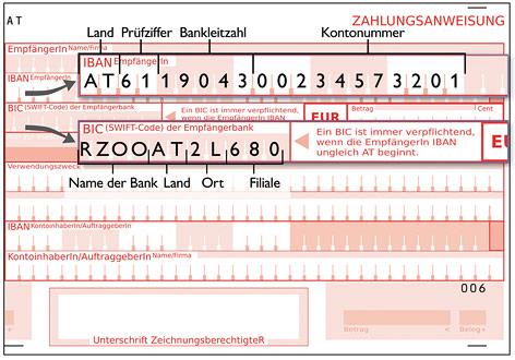 Muster einer Zahlungsanweisung