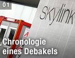 Skylink-Infocenter mit Baucontainern