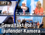 Der griechischen Politikerin Rena Dourou wird in einer Talkshow ein Glas Wasser ins Gesicht geschüttet
