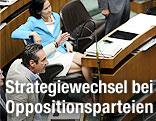 FPÖ-Chef Heinz Christian Strache, Grünen-Chefin Eva Glawischnig und BZÖ-Obmann Josef Bucher