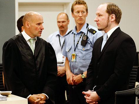 Anders Behring Breivik und Anwalt Lippestad