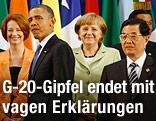 U.S. Präsident Barack Obama gemeinsam mit Australiens Prämierministerin Julia Gillard, Deutschlands Kanzlerin Angela Merkel und China's Präsident Hu Jintao