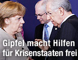 Deutsche Kanzlerin Angela Merkel, EU-Ratspräsident Herman Van Rompuy und Italiens Premier Mario Monti