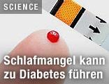 Finger mit Bluttropfen und Teststreifen
