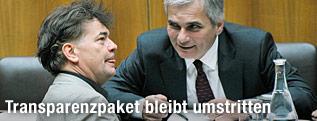 Werner Kogler (Grüne) und Kanzler Werner Faymann (SPÖ) im Plenarsaal des Parlaments