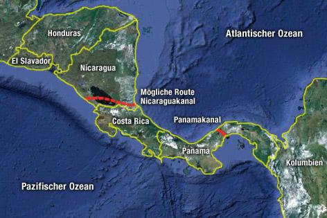 Karte von Zentralamerika mit Nicaragua und Panama