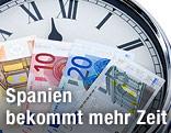 Euroscheine auf Uhr