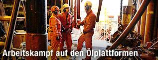 Arbeiter auf der Oseberg Bohrplattform in der Nordsee