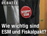 """Politiker trägt Button mit der Aufschrift """"Stoppt ESM"""""""