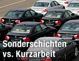 Fabriksneue BMW-Fahrzeuge warten auf den Abtransport in Bremerhafen