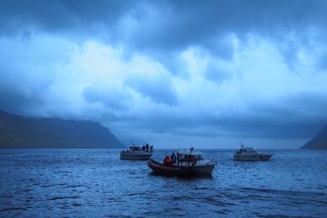 Bild auf schlechtes Wetter in der Bucht vor Göta