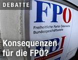 Ein Schild am Eingang zur Bundesparteizentrale der FPÖ
