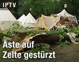 Zerstörte Zelte und abgebrochener Ast beim Mittelalterfest in Pöchlarn