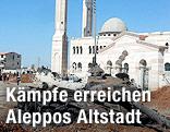 Ausgebrannter Panzer in der Altstadt von Aleppo