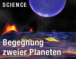 Künstlerische Darstellung der beiden Planeten