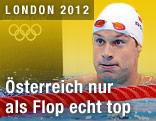Markus Rogan enttäuscht nach seinem Semifinallauf über 200 Meter Lagen