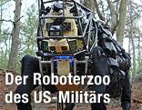 Roboter in Form eines Hundes bewegt sich im Wald