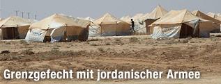 Syrisches Flüchtlingscamp in Jordanien nahe der Grenze