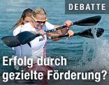 Yvonne Schuring und Viktoria Schwarz während dem Finale im Kajak Zweier Sprint