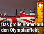 Britische Flagge auf die Westminster Abbey projeziert und Big Ben
