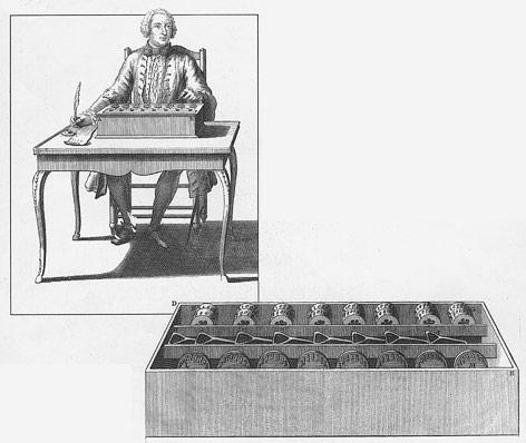 Mathematiker Blaise Pascal mit Addiermaschine