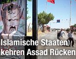 Zwei Männer gehen an einem beschmierten Plakat mit dem Abbild des syrischen Präsidenten Assad vorbei