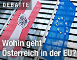 Österreich- und EU-Fahne