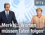 Deutsche Bundeskanzlerin Angela Merkel und griechischer Premier Antonis Samaras