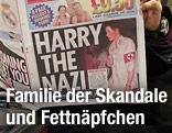 """Zeitung mit Prinz Harry auf dem Titelbild und der Überschrift """"Harry the nazi"""""""