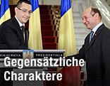 Rumäniens Ministerpräsident Victor Ponta und Staatspräsident Traian Basescu