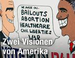 Wahlplakat mit Karikaturen vom Mitt Romney und Barack Obama