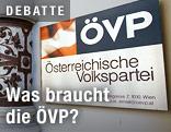 Schild vor der ÖVP-Zentrale in Wien