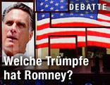 Mitt Romneys Bild wird auf einem Bildschirm beim Parteitag der Republikaner gezeigt