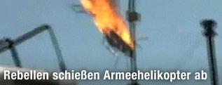 Abgeschossener Hubschrauber stürzt ab