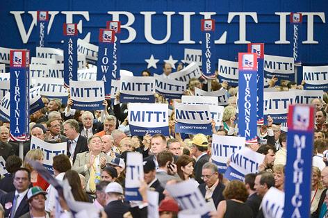 Wahlanhänger von Mitt Romney mit Wahlplakat