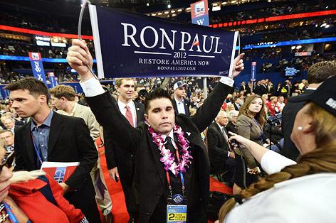 Ein Anhänger von ron Paul beim republikanischen Parteitag