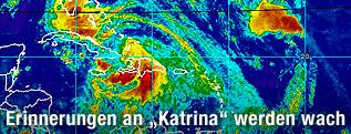 """Satellitenbild des Hurrikan """"Isaac"""" über Florida und Kuba"""