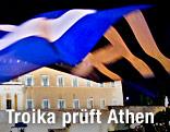 Griechische Fahne vor dem Parlement in Athen