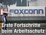 Foxconn-Schriftzug vor dem Werk in China
