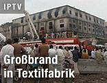 Ausgebrannte Textilfabrik