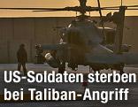 Ein Hubschrauber der Britischen Armee im Camp Bastion in Afghanistan